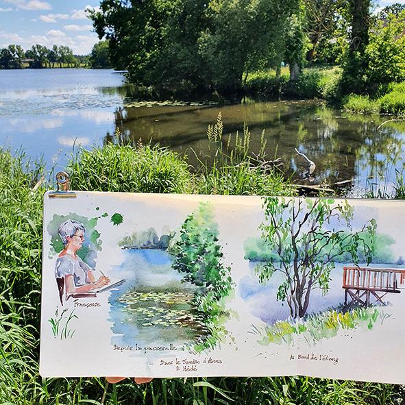 carnet de voyage, cours de croquis dessin et aquarelle en extérieur avec Céline Dodeman