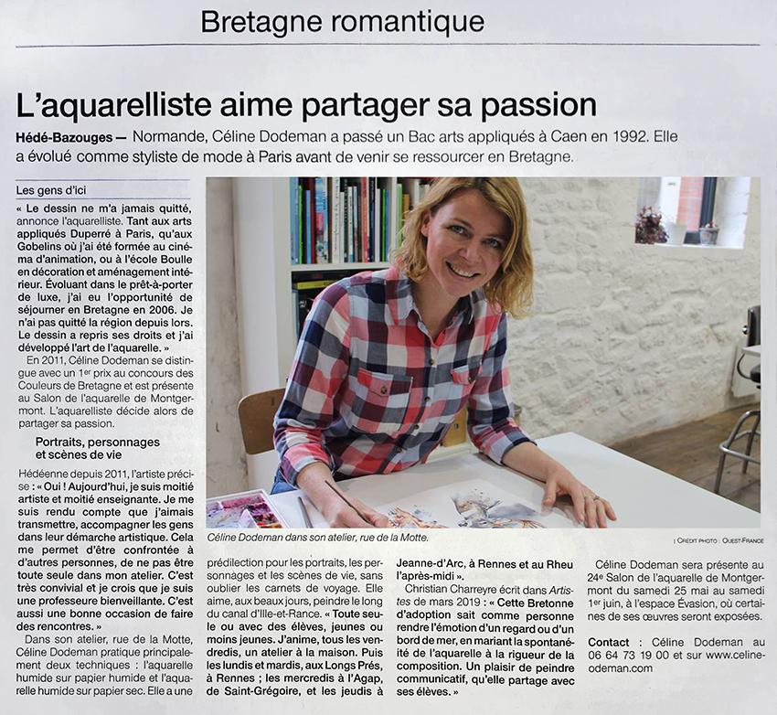Article, parution, Ouest France, l'aquarelliste aime partager sa passion
