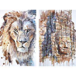 Lion et Angkor, Aquarelles de Céline Dodeman