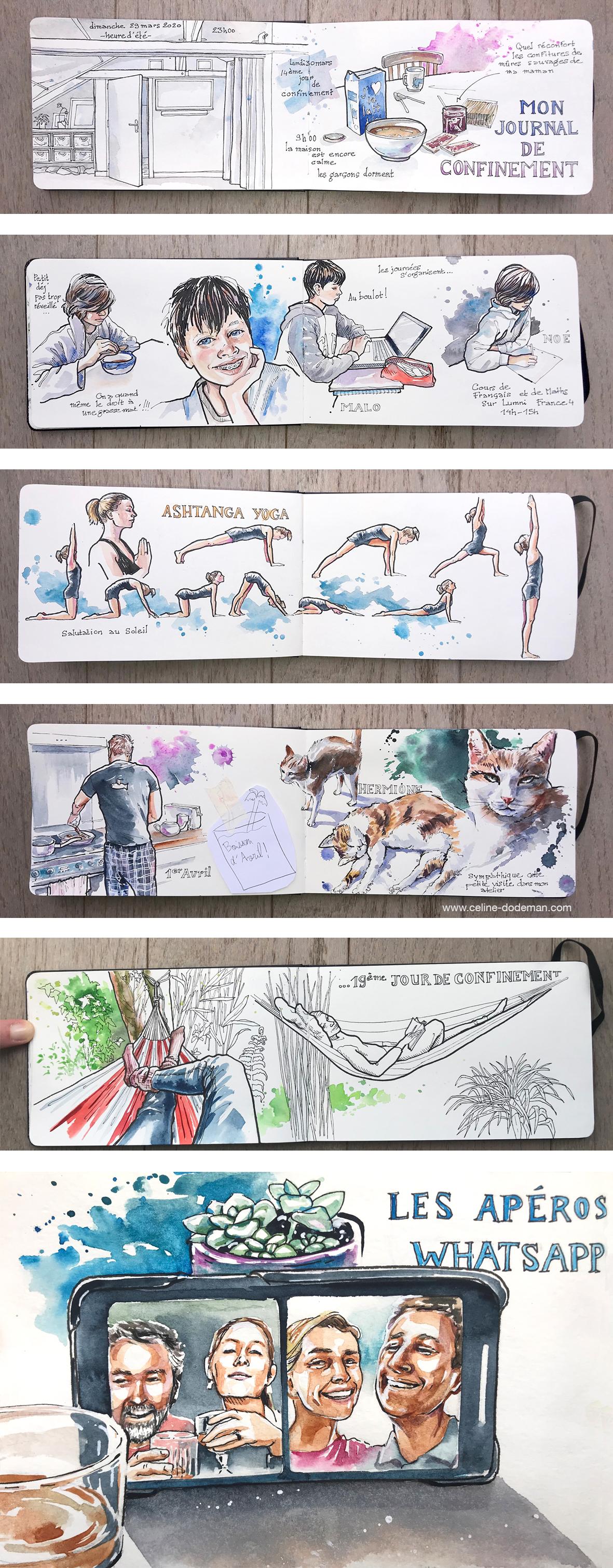 Carnet de confinement par Céline Dodeman, carnet de voyage, dessin croquis et aquarelle, urban sketchers