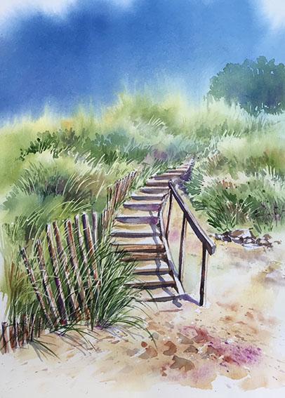 Démonstration d'aquarelle pas à pas pour débutant et perfectionnement, peinture