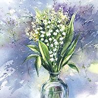 Vidéo tutoriel démo, bouquet de fleurs, Muguet à l'aquarelle, Céline Dodeman