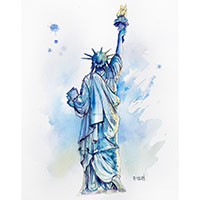 Statue de la liberté - Aquarelle Céline Dodeman