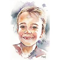 portrait enfant aquarelle Garance - Céline Dodeman